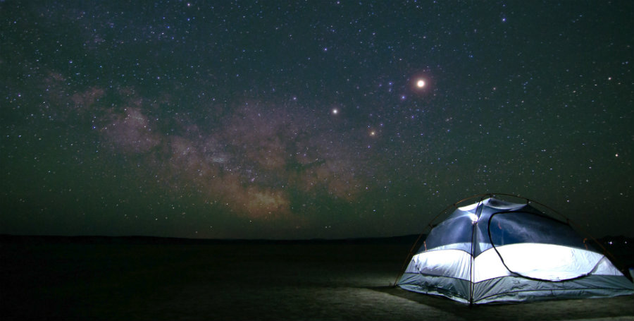 viewing the sky with a tent