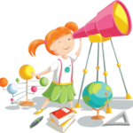 cartoon child playing with telescope