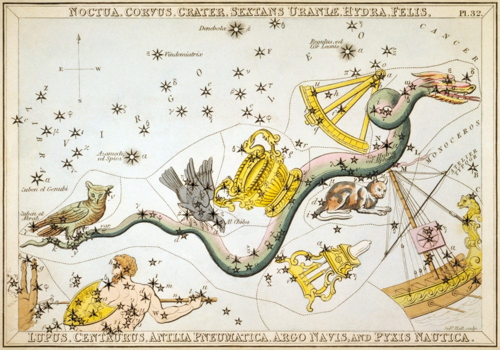 This star chart from 1825 shows several constellations that no longer exist. For example, Noctua the Owl is clearly visible to the left while Felis the Cat is over to the right.