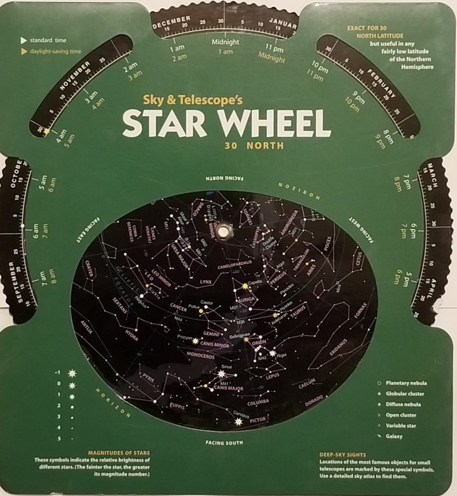 "This planisphere, produced by Sky & Telescope magazine, allows you to ""dial up"" the night sky for any time on any date."