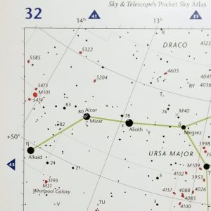 A close-up view of page 32 of Sky & Telescope's Pocket Sky Atlas, showing the location of the Whirlpool Galaxy