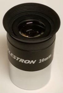 A Celestron 20mm eyepiece that typically comes as standard with their telescopes