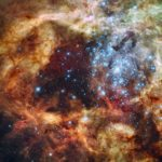 This close-up view of the Tarantula Nebula from Hubble shows a large star-forming region within the cloud. Credit: NASA/ESA