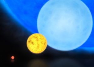 A size comparison of a red dwarf (lower left), the Sun (center), a blue dwarf (right) and R136a1 (background)