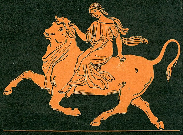 Europa being carried away by the god Zeus in bull form.
