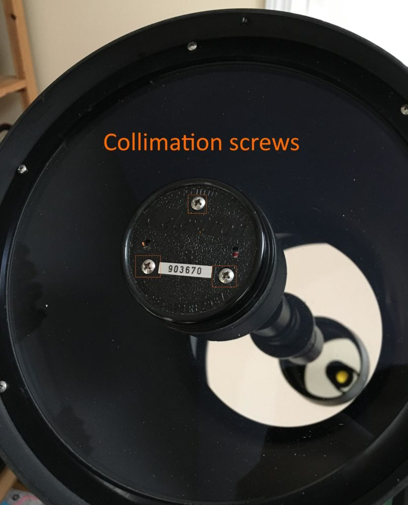 3 collimation screws on their secondary mirror holder
