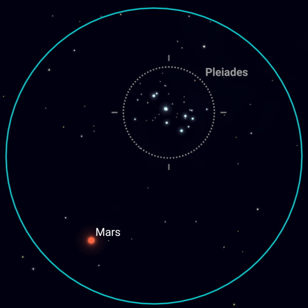 February 28th, evening sky, binocular view.