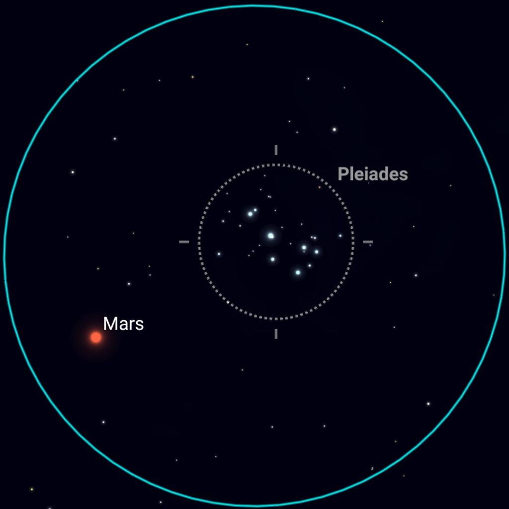 March 3rd, evening sky, binocular view.
